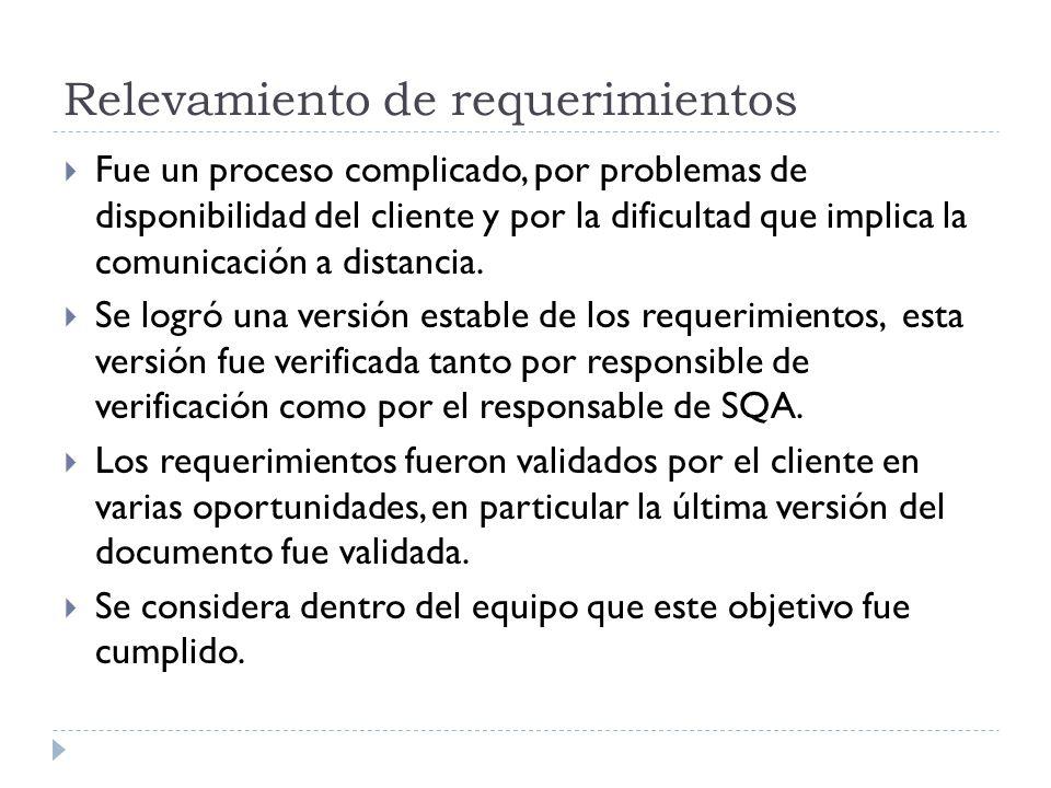 Relevamiento de requerimientos Fue un proceso complicado, por problemas de disponibilidad del cliente y por la dificultad que implica la comunicación a distancia.