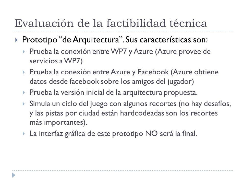 Evaluación de la factibilidad técnica Prototipo de Arquitectura.