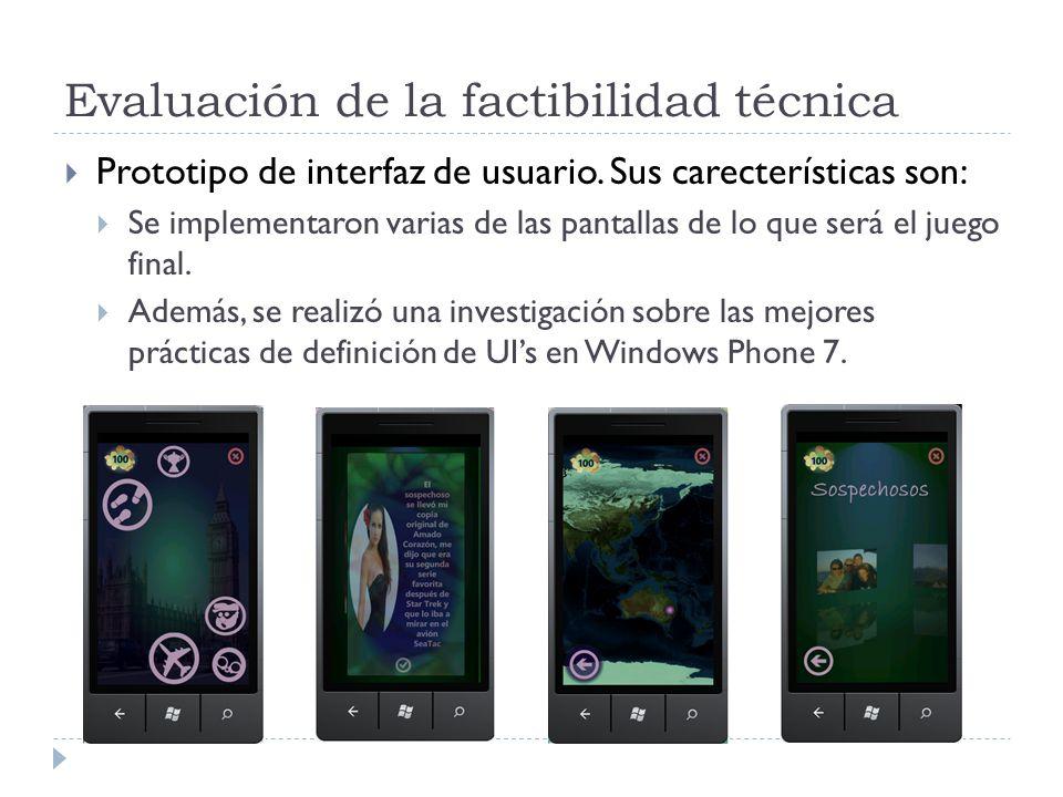 Evaluación de la factibilidad técnica Prototipo de interfaz de usuario.