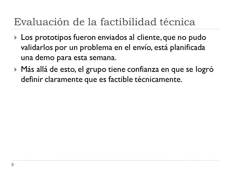 Evaluación de la factibilidad técnica Los prototipos fueron enviados al cliente, que no pudo validarlos por un problema en el envío, está planificada una demo para esta semana.