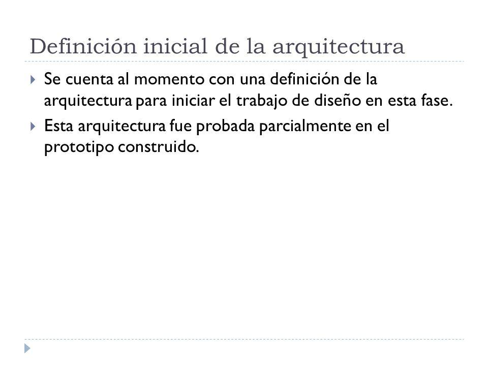 Definición inicial de la arquitectura Se cuenta al momento con una definición de la arquitectura para iniciar el trabajo de diseño en esta fase.