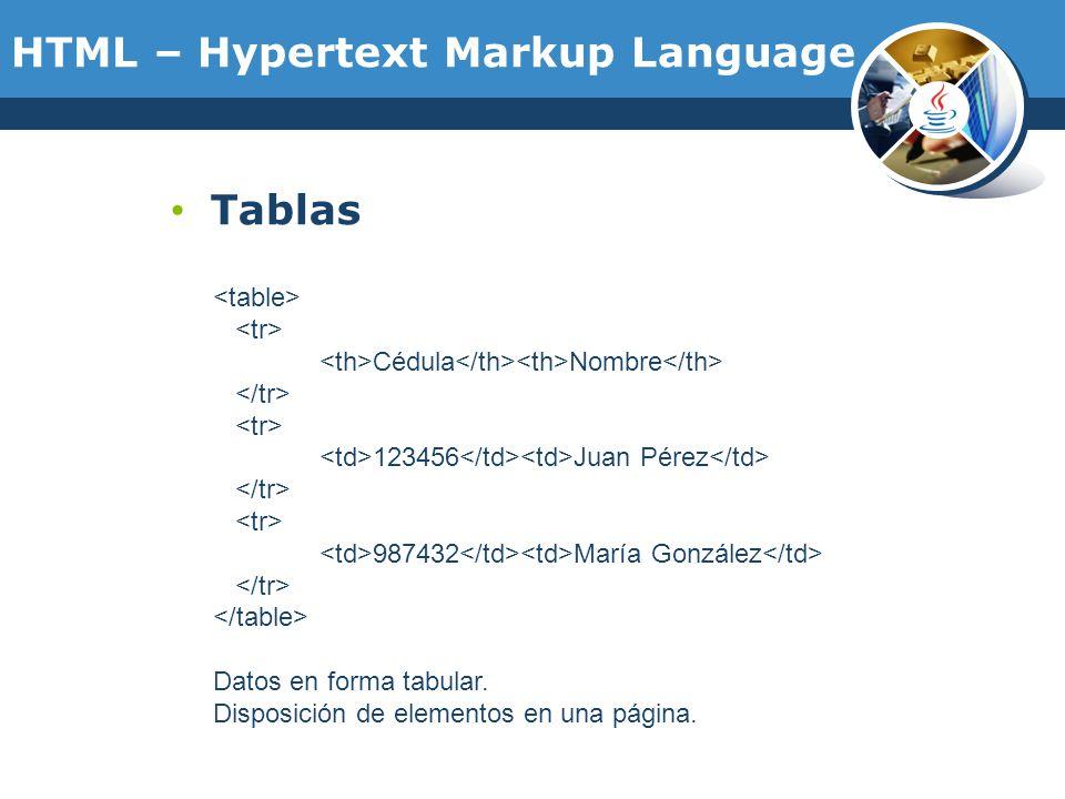 Tablas Cédula Nombre 123456 Juan Pérez 987432 María González Datos en forma tabular. Disposición de elementos en una página. HTML – Hypertext Markup L