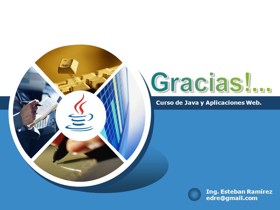 Curso de Java y Aplicaciones Web. Ing. Esteban Ramírez edre@gmail.com