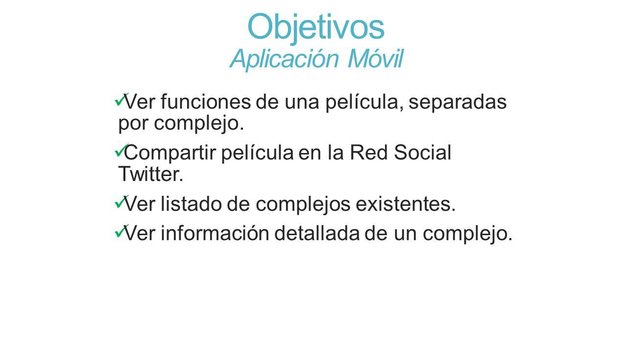 Objetivos Aplicación Móvil Ver funciones de una película, separadas por complejo. Compartir película en la Red Social Twitter. Ver listado de complejo
