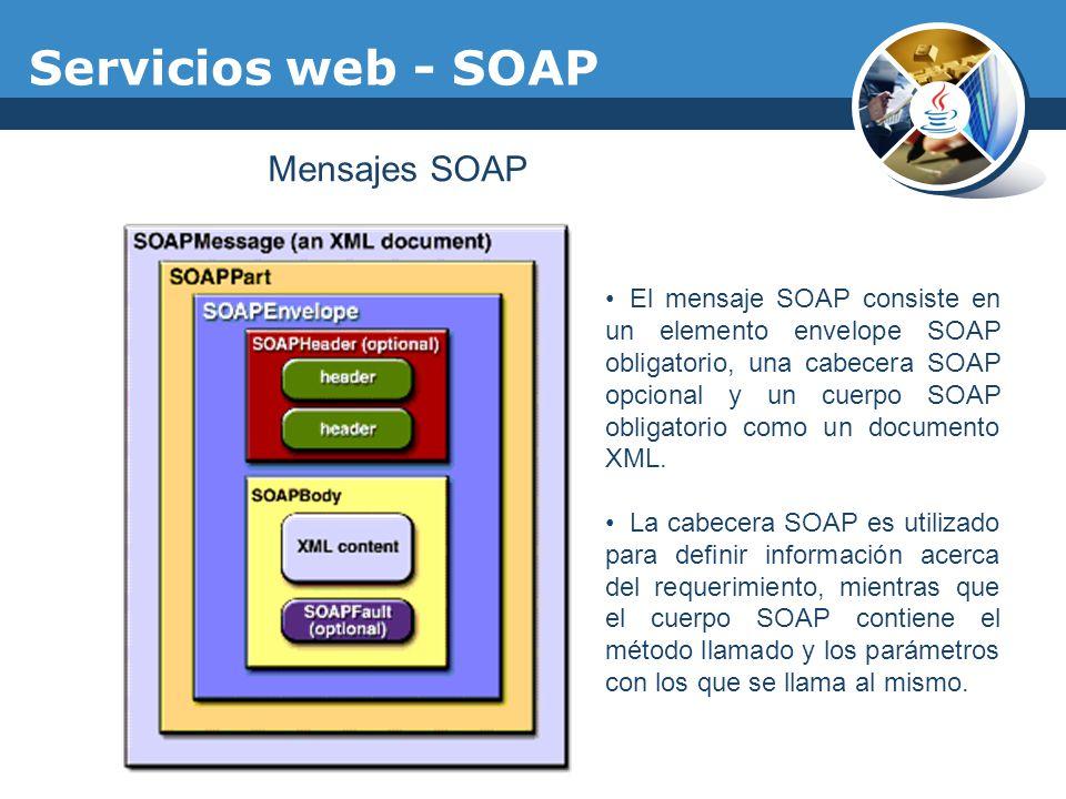 Servicios web - SOAP Mensajes SOAP El mensaje SOAP consiste en un elemento envelope SOAP obligatorio, una cabecera SOAP opcional y un cuerpo SOAP obli