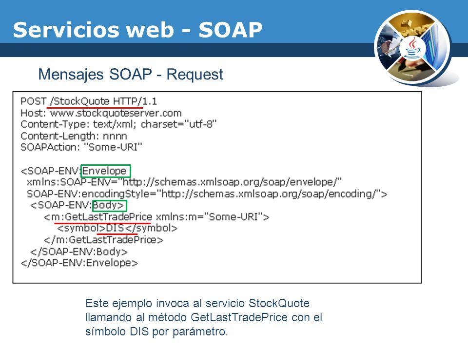 Servicios web - SOAP Mensajes SOAP - Request Este ejemplo invoca al servicio StockQuote llamando al método GetLastTradePrice con el símbolo DIS por pa
