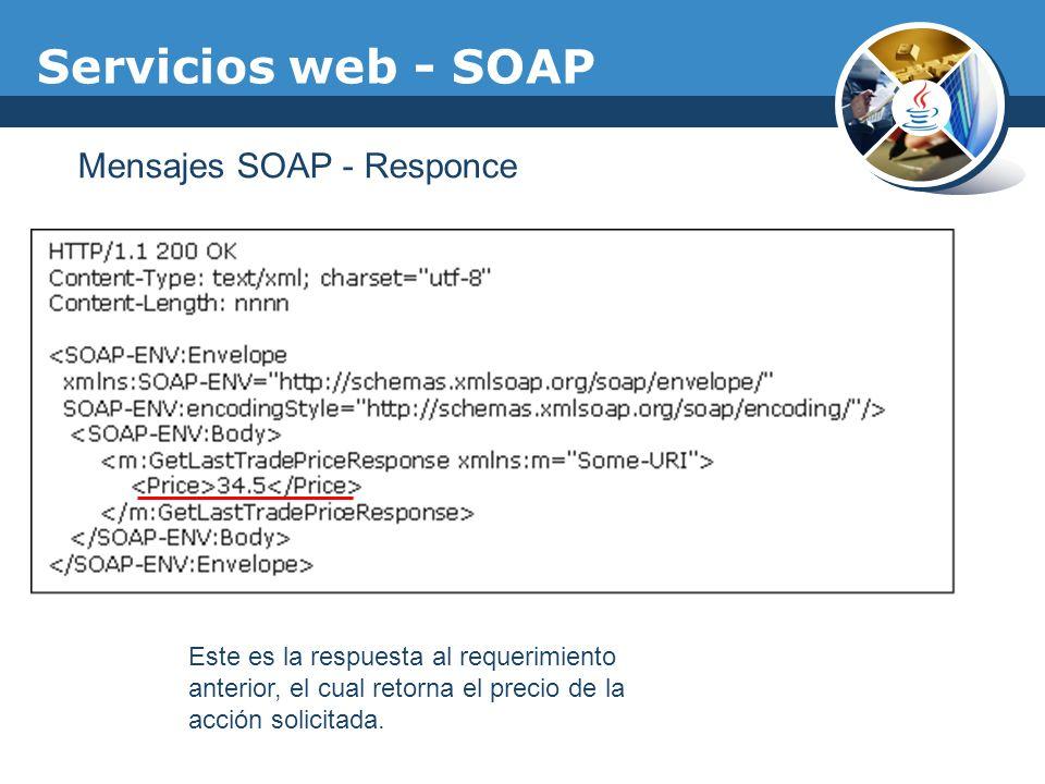 Servicios web - SOAP Mensajes SOAP - Responce Este es la respuesta al requerimiento anterior, el cual retorna el precio de la acción solicitada.