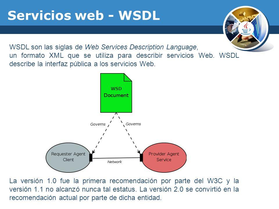 WSDL son las siglas de Web Services Description Language, un formato XML que se utiliza para describir servicios Web. WSDL describe la interfaz públic
