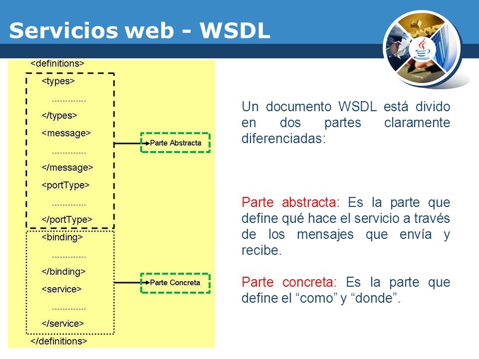 Un documento WSDL está divido en dos partes claramente diferenciadas: Parte abstracta: Es la parte que define qué hace el servicio a través de los men