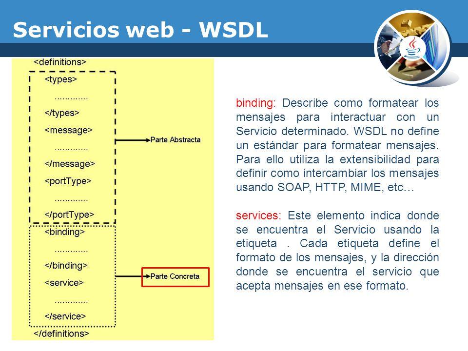 Servicios web - WSDL binding: Describe como formatear los mensajes para interactuar con un Servicio determinado. WSDL no define un estándar para forma