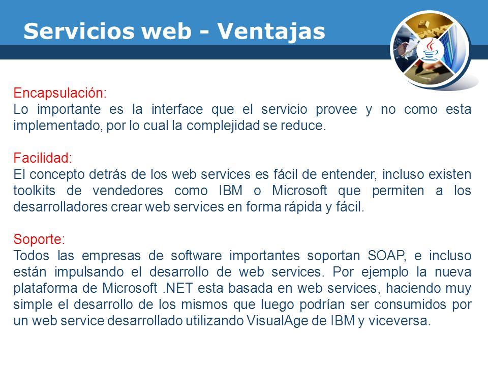 Servicios web - Ventajas Encapsulación: Lo importante es la interface que el servicio provee y no como esta implementado, por lo cual la complejidad s