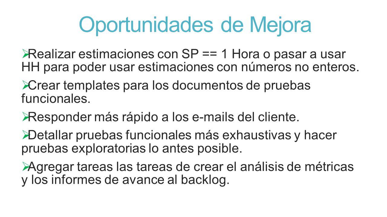 Oportunidades de Mejora Realizar estimaciones con SP == 1 Hora o pasar a usar HH para poder usar estimaciones con números no enteros.