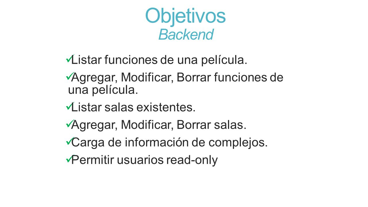Objetivos Backend Listar funciones de una película.
