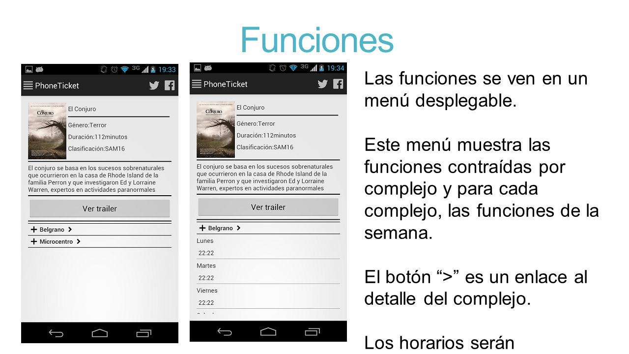 Funciones Las funciones se ven en un menú desplegable.