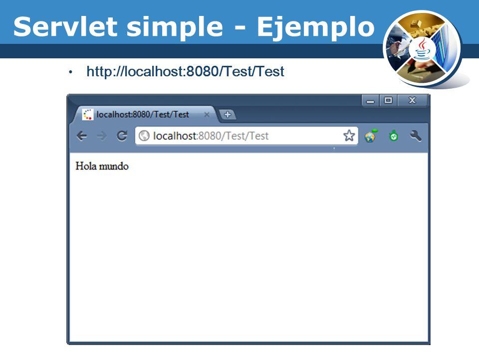 Servlet simple - Ejemplo http://localhost:8080/Test/Test