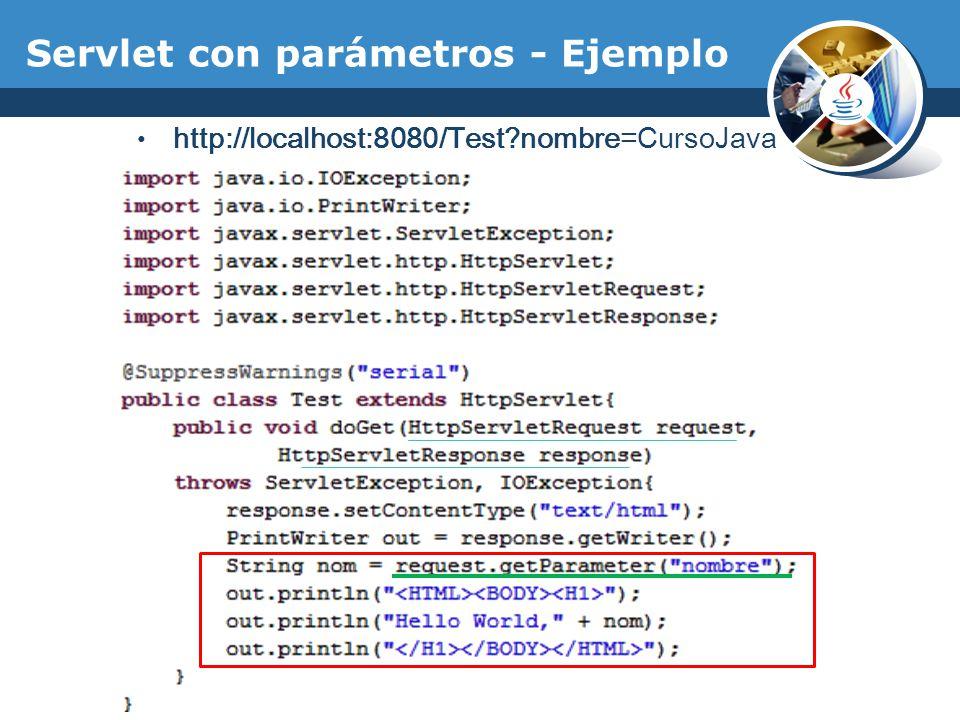Servlet con parámetros - Ejemplo http://localhost:8080/Test?nombre=CursoJava
