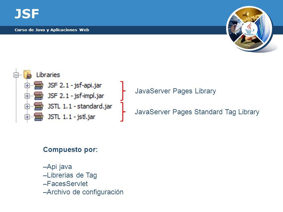 JSF Curso de Java y Aplicaciones Web Compuesto por: –Api java –Librerias de Tag –FacesServlet –Archivo de configuración JavaServer Pages Standard Tag