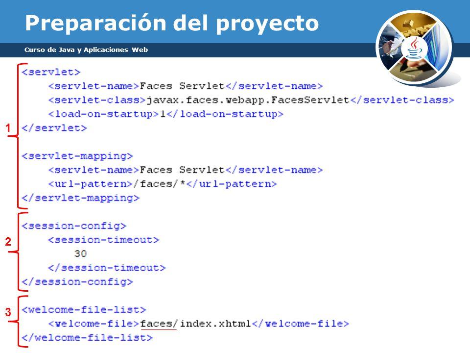 Preparación del proyecto Curso de Java y Aplicaciones Web 1 2 3