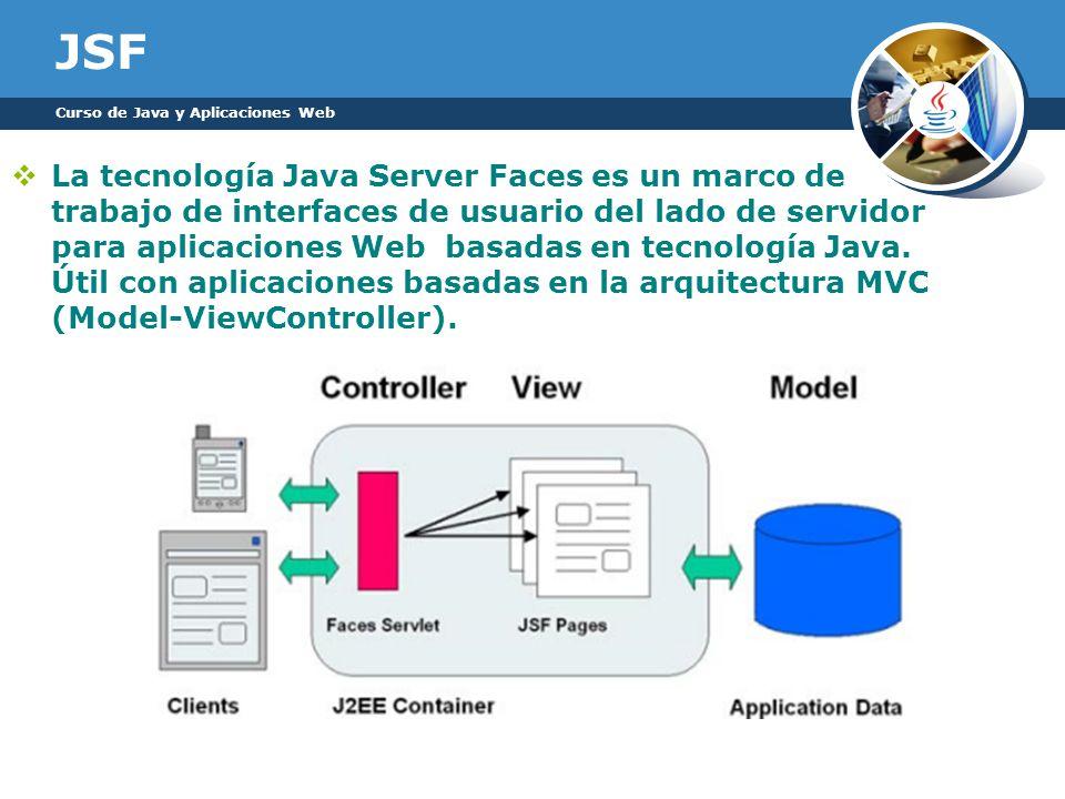 JSF La tecnología Java Server Faces es un marco de trabajo de interfaces de usuario del lado de servidor para aplicaciones Web basadas en tecnología J