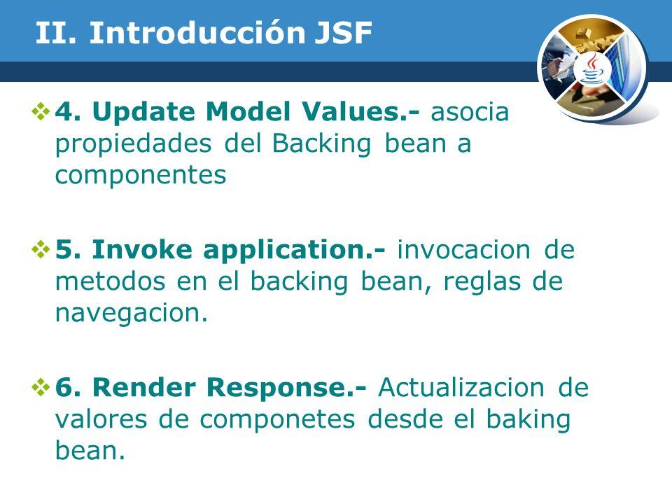 II. Introducción JSF 4. Update Model Values.- asocia propiedades del Backing bean a componentes 5. Invoke application.- invocacion de metodos en el ba