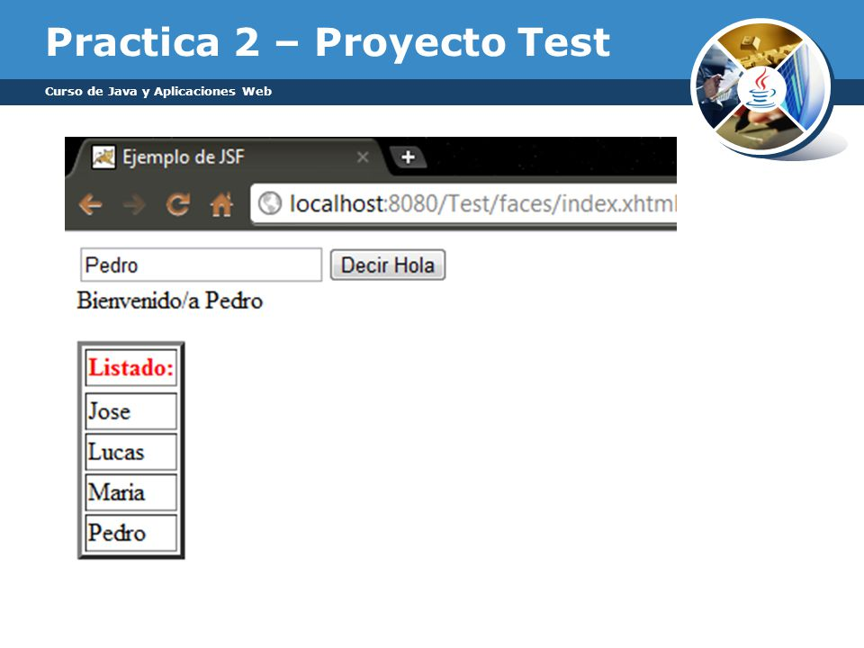 Practica 2 – Proyecto Test Curso de Java y Aplicaciones Web