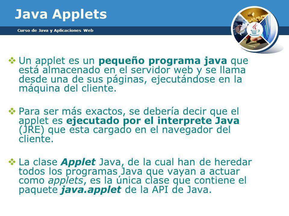 Un applet es un pequeño programa java que está almacenado en el servidor web y se llama desde una de sus páginas, ejecutándose en la máquina del cliente.