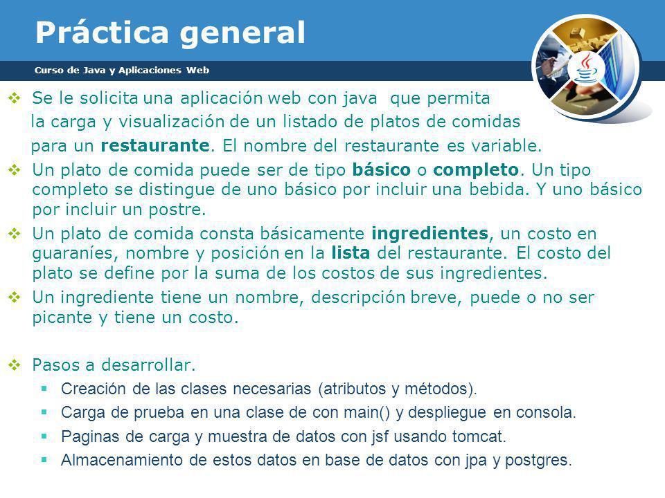 Práctica general Se le solicita una aplicación web con java que permita la carga y visualización de un listado de platos de comidas para un restaurante.