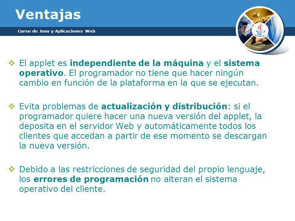 Ventajas El applet es independiente de la máquina y el sistema operativo.