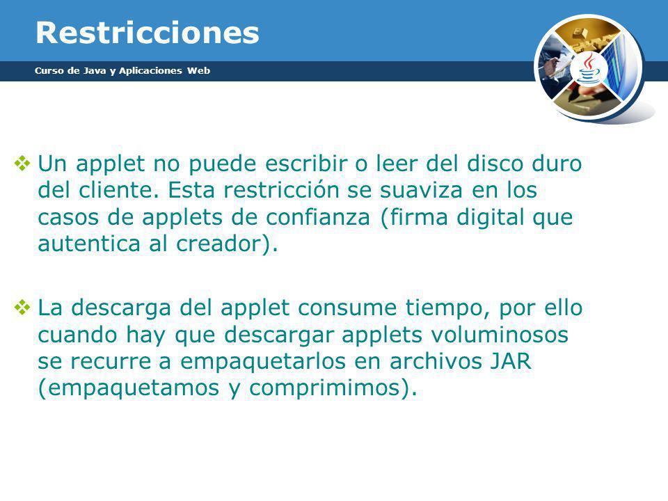 Restricciones Un applet no puede escribir o leer del disco duro del cliente.