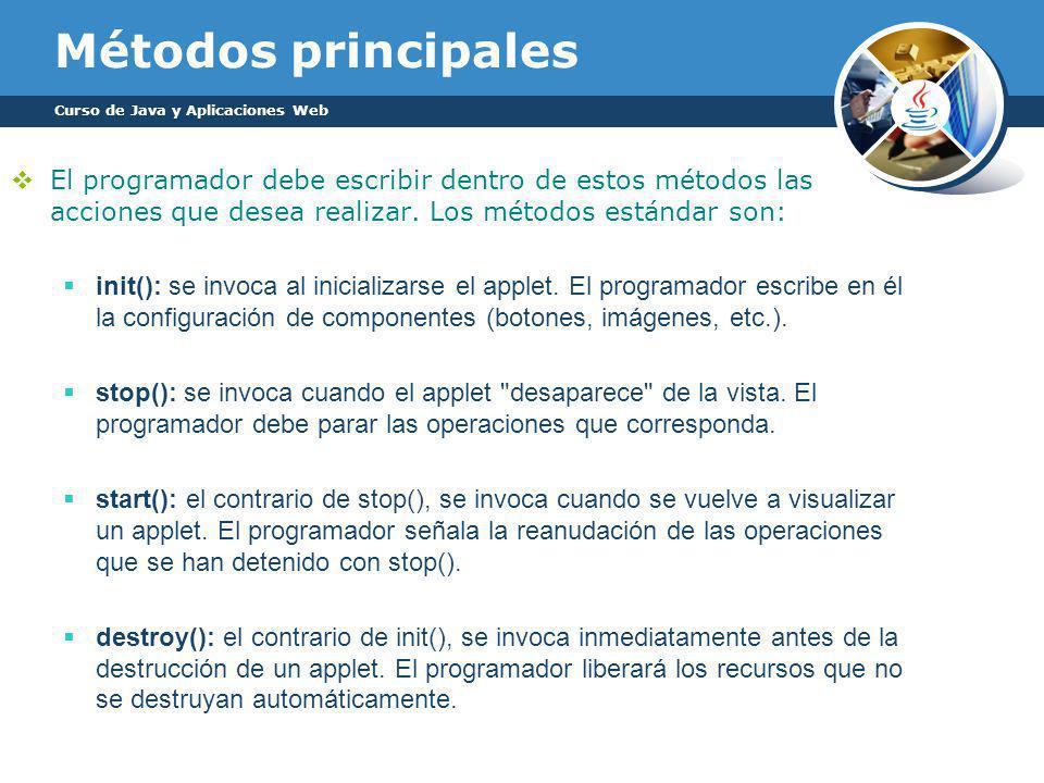 Métodos principales El programador debe escribir dentro de estos métodos las acciones que desea realizar.
