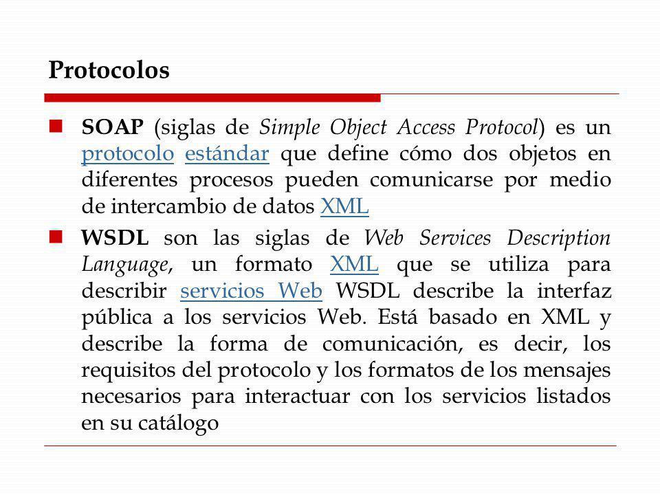 Protocolos SOAP (siglas de Simple Object Access Protocol ) es un protocolo estándar que define cómo dos objetos en diferentes procesos pueden comunica