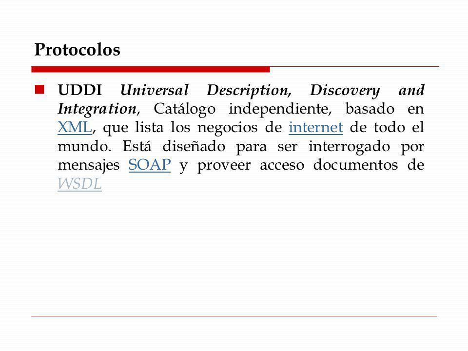 Protocolos UDDI Universal Description, Discovery and Integration, Catálogo independiente, basado en XML, que lista los negocios de internet de todo el