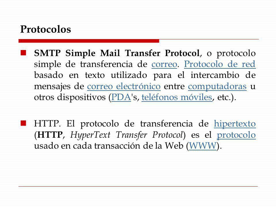 Protocolos SMTP Simple Mail Transfer Protocol, o protocolo simple de transferencia de correo. Protocolo de red basado en texto utilizado para el inter