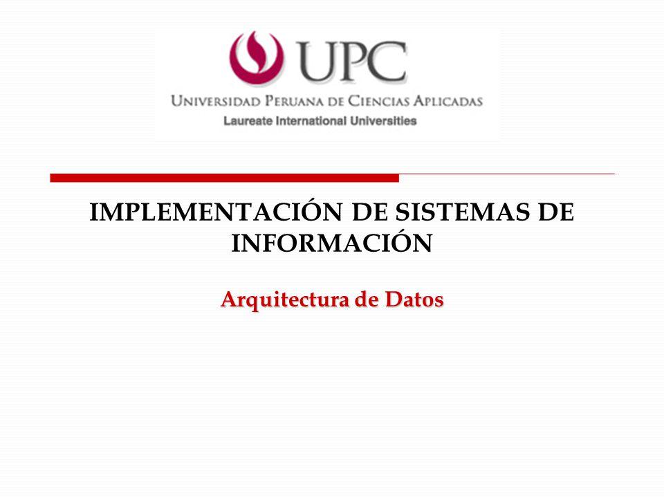 IMPLEMENTACIÓN DE SISTEMAS DE INFORMACIÓN Arquitectura de Datos