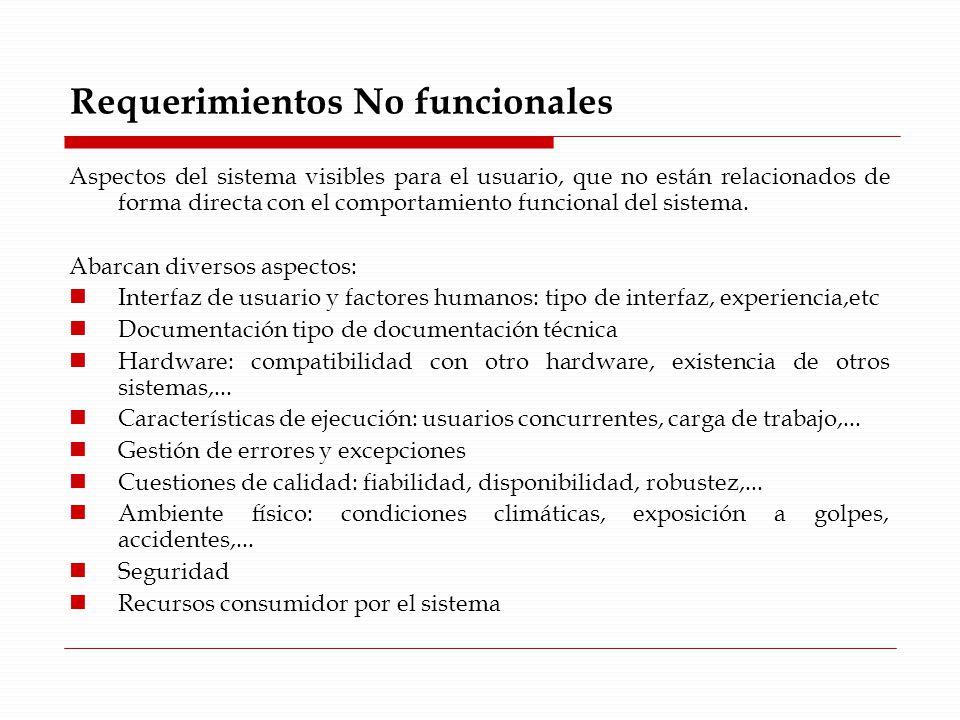 Requerimientos No funcionales Aspectos del sistema visibles para el usuario, que no están relacionados de forma directa con el comportamiento funcional del sistema.