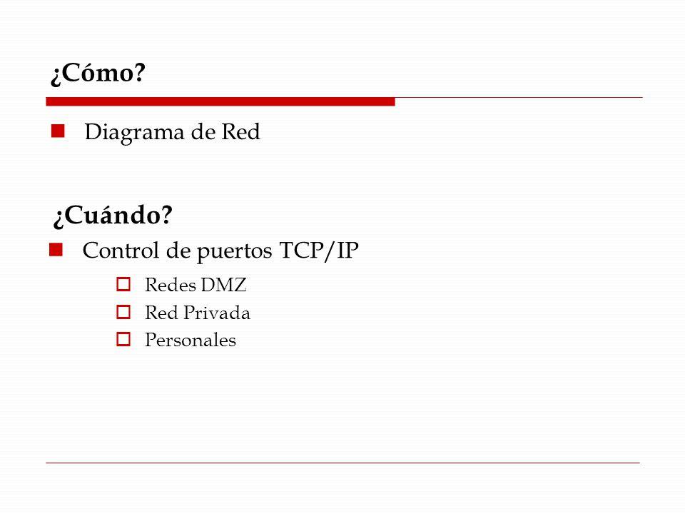 ¿Cómo? Diagrama de Red ¿Cuándo? Control de puertos TCP/IP Redes DMZ Red Privada Personales
