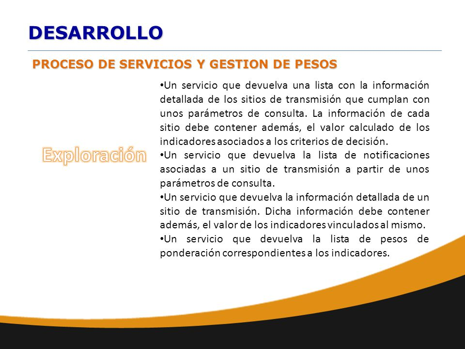 DESARROLLO Un servicio que devuelva una lista con la información detallada de los sitios de transmisión que cumplan con unos parámetros de consulta. L