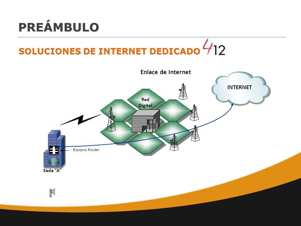 Red Digitel Equipos Router Enlace de Internet Sede A INTERNET SOLUCIONES DE INTERNET DEDICADO PREÁMBULO