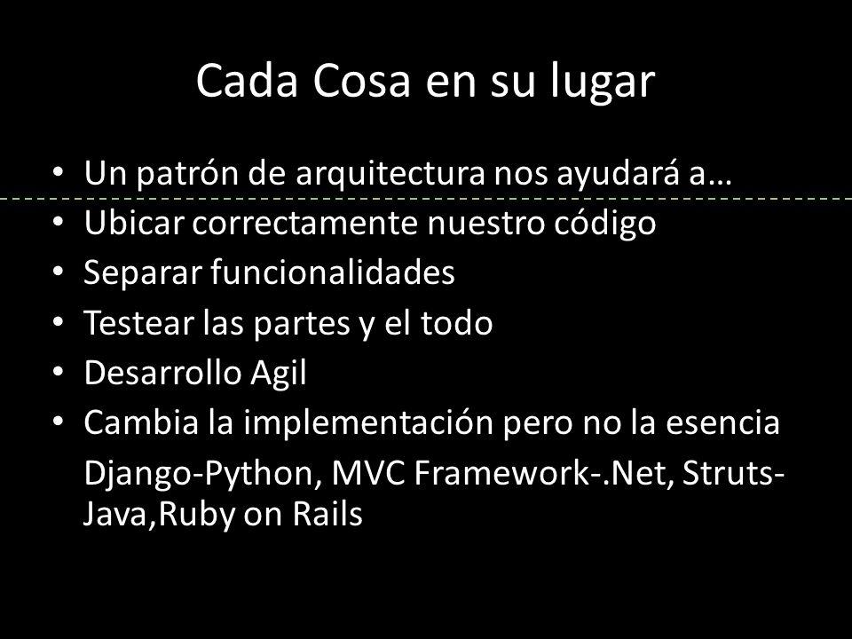 Un patrón de arquitectura nos ayudará a… Ubicar correctamente nuestro código Separar funcionalidades Testear las partes y el todo Desarrollo Agil Cambia la implementación pero no la esencia Django-Python, MVC Framework-.Net, Struts- Java,Ruby on Rails
