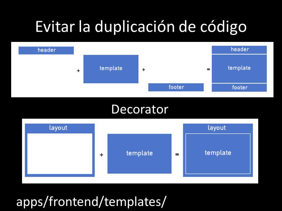 Evitar la duplicación de código Decorator apps/frontend/templates/
