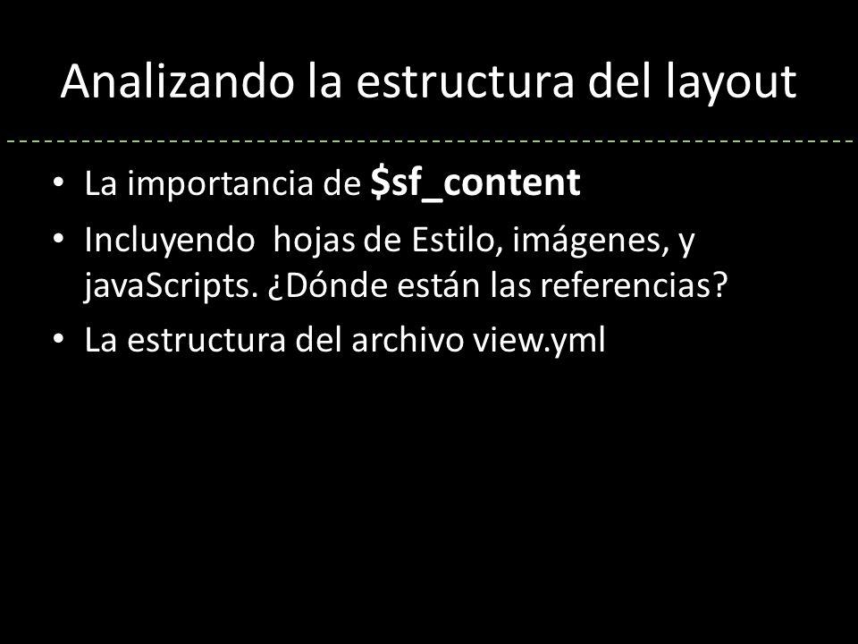 Analizando la estructura del layout La importancia de $sf_content Incluyendo hojas de Estilo, imágenes, y javaScripts.