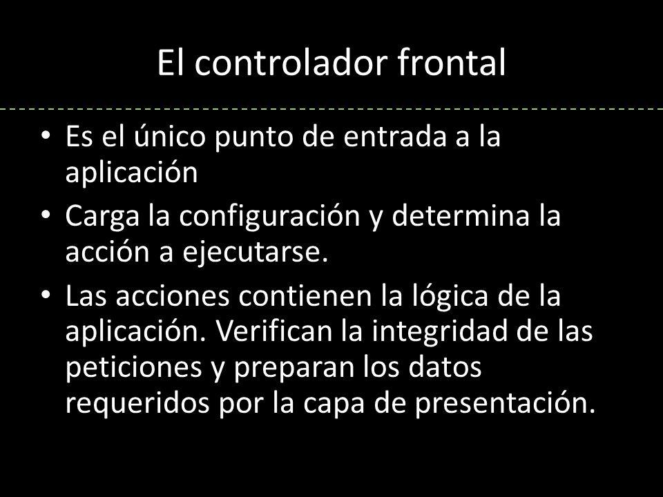 El controlador frontal Los objetos request, response y session dan acceso a los parámetros de la petición, las cabeceras de las respuestas y a los datos persistentes del usuario Los filtros son trozos de código ejecutados para cada petición, antes o después de una acción.