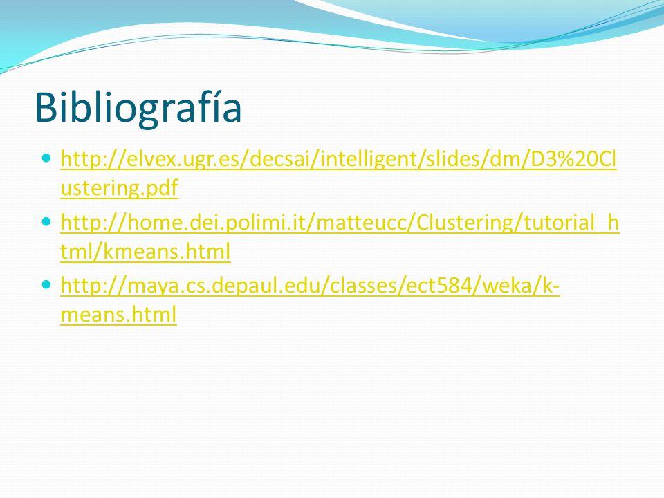 Bibliografía http://elvex.ugr.es/decsai/intelligent/slides/dm/D3%20Cl ustering.pdf http://elvex.ugr.es/decsai/intelligent/slides/dm/D3%20Cl ustering.p