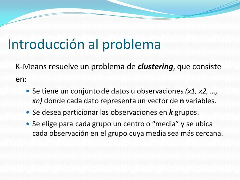 Introducción al problema K-Means resuelve un problema de clustering, que consiste en: Se tiene un conjunto de datos u observaciones (x1, x2, …, xn) do
