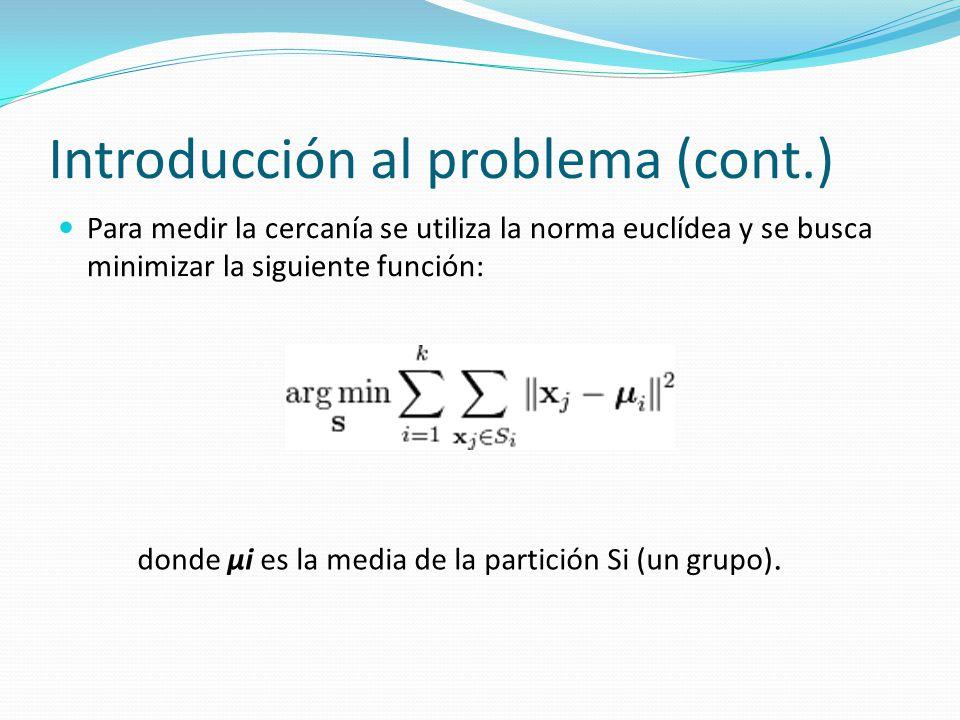 Introducción al problema (cont.) Para medir la cercanía se utiliza la norma euclídea y se busca minimizar la siguiente función: donde μi es la media d