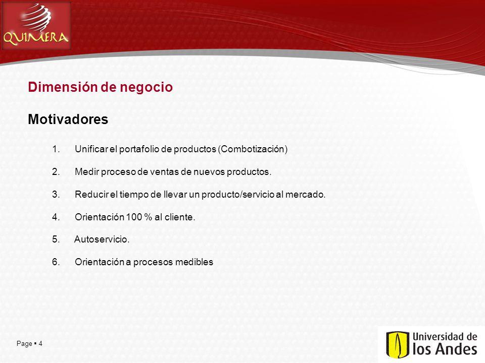 Page 4 Dimensión de negocio Motivadores 1. Unificar el portafolio de productos (Combotización) 2. Medir proceso de ventas de nuevos productos. 3. Redu