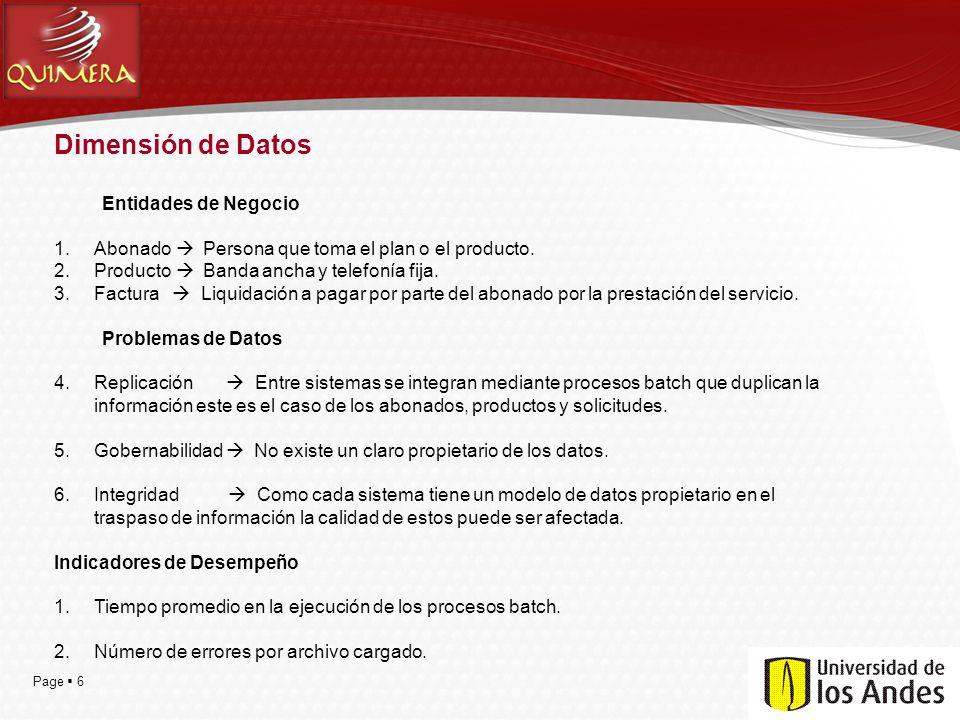 Page 6 Dimensión de Datos Entidades de Negocio 1.Abonado Persona que toma el plan o el producto. 2.Producto Banda ancha y telefonía fija. 3.Factura Li
