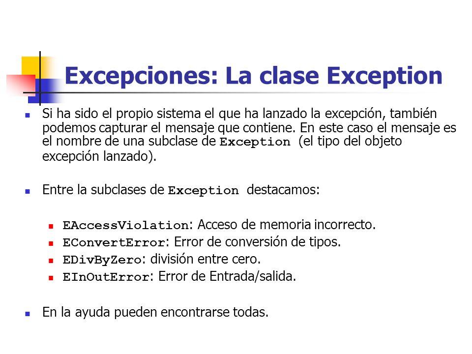 Excepciones: La clase Exception Si ha sido el propio sistema el que ha lanzado la excepción, también podemos capturar el mensaje que contiene.