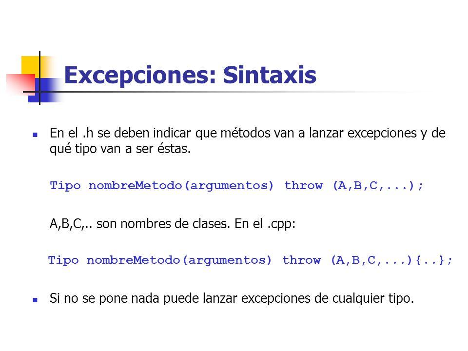 Excepciones: Sintaxis En el.h se deben indicar que métodos van a lanzar excepciones y de qué tipo van a ser éstas.