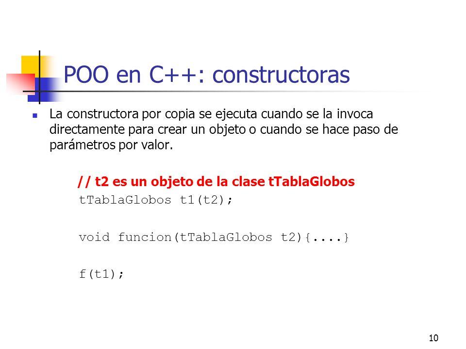 10 POO en C++: constructoras La constructora por copia se ejecuta cuando se la invoca directamente para crear un objeto o cuando se hace paso de parám